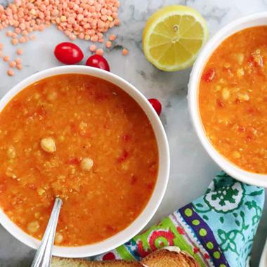 طرز تهیه سوپ دال عدس با نخود