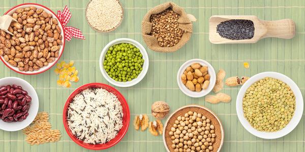 مغزها، حبوبات، دانهها، انواع لوبیای خشک و نخود در رژیم غذایی دش