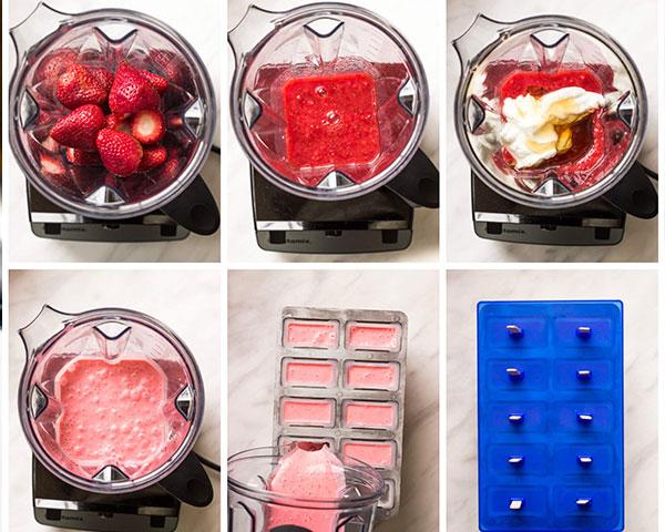 طرز تهیه بستنی توت فرنگی یخی